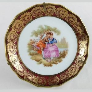 "Limoge Plate 22k Gold Trim 3 3/8"" w/ Stand"